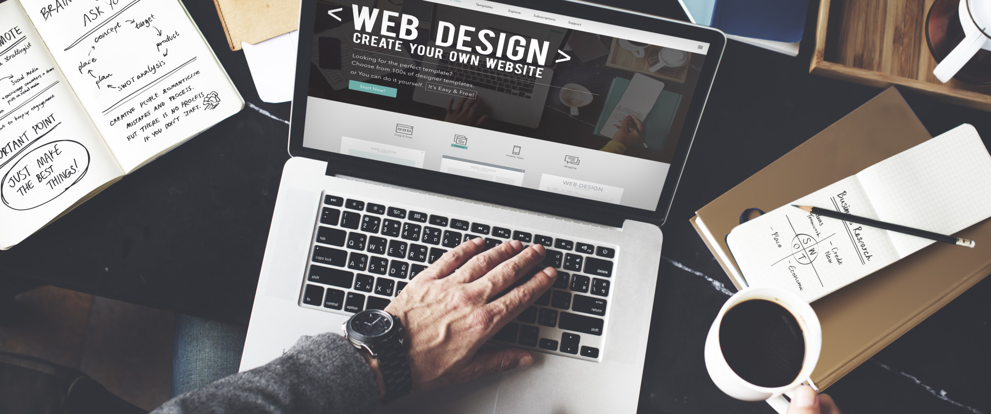 web design site on laptop